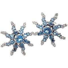 Pasquale Bruni Sun Diamond Aquamarine White Gold Earrings