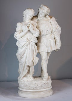 White Marble Sculpture Statue of Two Lovers