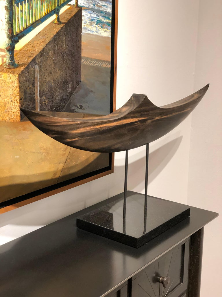 Modern Passage, Hand Carved and Polished Ebony Wood Boat Sculpture on Granite Base For Sale