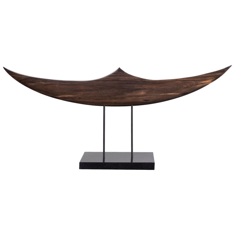 Passage, Hand Carved and Polished Ebony Wood Boat Sculpture on Granite Base For Sale