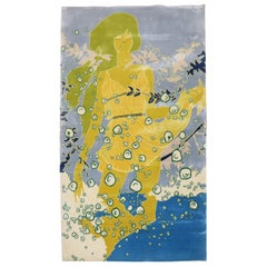 Passionate Blue Chartreuse Modern Silk Rug