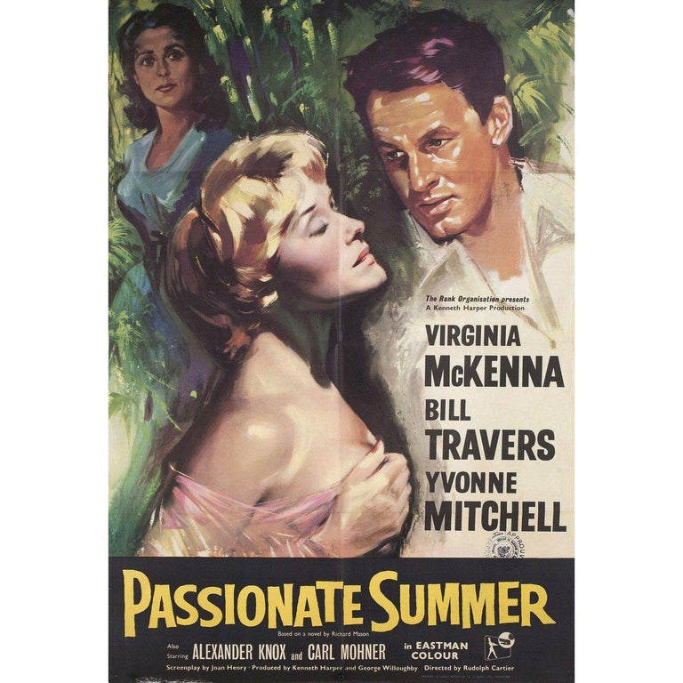 "Original 1958 British one sheet poster for the film ""Passionate Summer"" (Storm over Jamaica) directed by Rudolph Cartier with Virginia McKenna / Bill Travers / Yvonne Mitchell / Alexander Knox. Very good condition, folded with censor stamp. Many"
