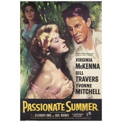 """Passionate Summer"" 1958 British One Sheet Film Poster"