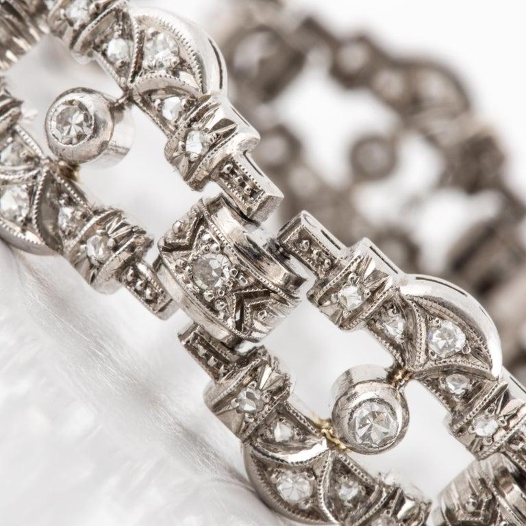 Rose Cut Art Deco Openwork Diamond Platinum Link Bracelet For Sale
