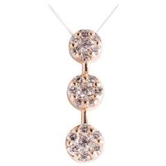 Past Present Future 1.5 Carat Circular Cluster Diamond Pendant 14 Karat Gold