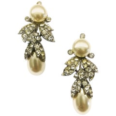 Paste pearl and clear paste drop earrings,Mitchel Maer for Christian Dior, 1950s