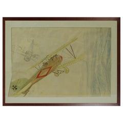 Pastel and Pencil Drawing by Riccardo Cavigioli Depicting an Albatros DV A