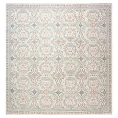 Modern Traditional Oushak Inspired Light Blue & Pink Wool Rug