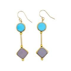 Pastel Blue & Lavender Art Deco Earrings