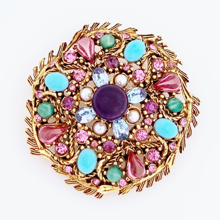Modern Pastel Cabochon Medley Brooch By Hollycraft, 1950s For Sale