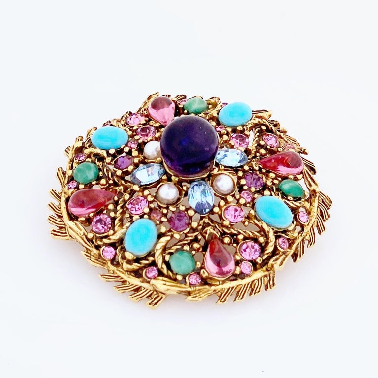 Women's Pastel Cabochon Medley Brooch By Hollycraft, 1950s For Sale