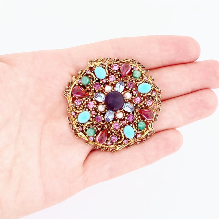 Pastel Cabochon Medley Brooch By Hollycraft, 1950s For Sale 3