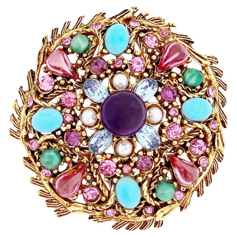 Pastel Cabochon Medley Brooch By Hollycraft, 1950s For Sale