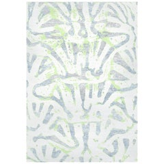 Pastel Colors Handmade Wool and Silk Rug from Aldabra Collection by Gordian