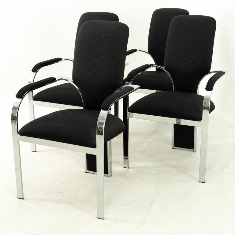 Post-Modern Pastel Furniture Chrome Upholstered Dining Chairs, Set of 4 For Sale