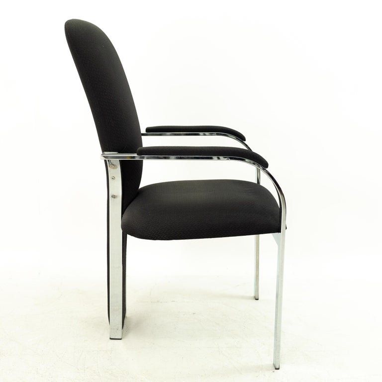 Pastel Furniture Chrome Upholstered Dining Chairs, Set of 4 In Good Condition For Sale In La Grange, IL