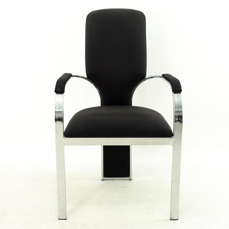 Late 20th Century Pastel Furniture Chrome Upholstered Dining Chairs, Set of 4 For Sale