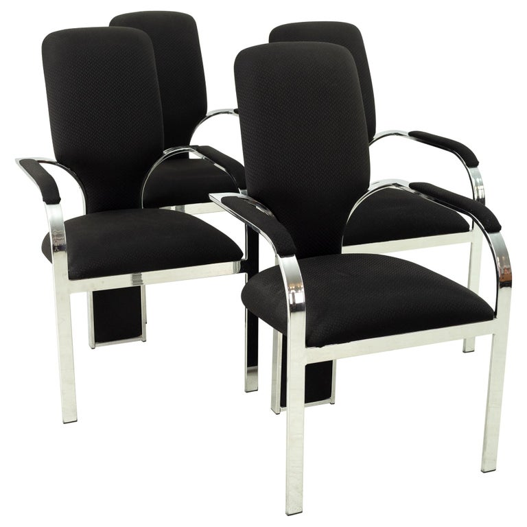 Pastel Furniture Chrome Upholstered Dining Chairs, Set of 4 For Sale