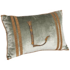 Pastel Green Colored Velvet Pillow with Antique Metallic Embroidery