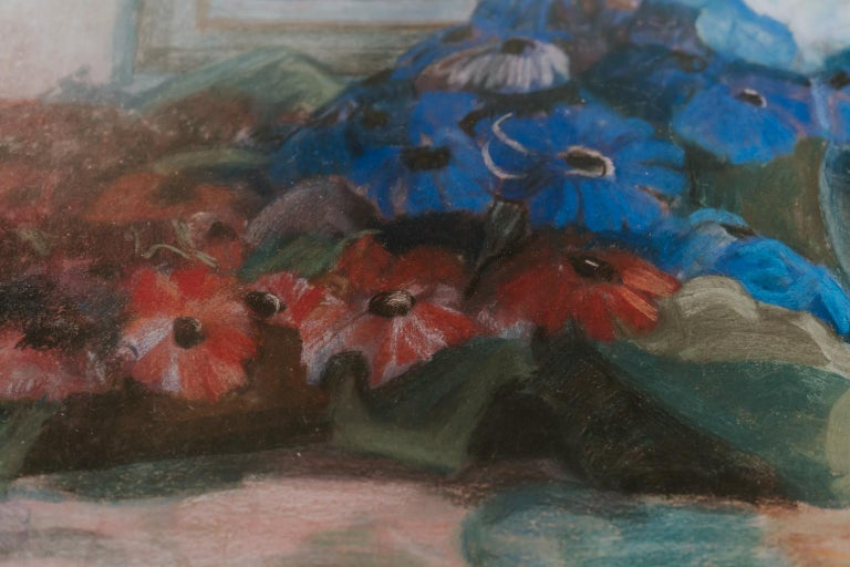 Paper Pastel Painting, Blue and Red Flowers