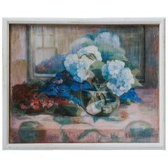 Pastel Painting, Blue and Red Flowers
