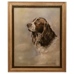 Pastel Painting of an English Springer Spaniel artist signed Charles A. Phelps