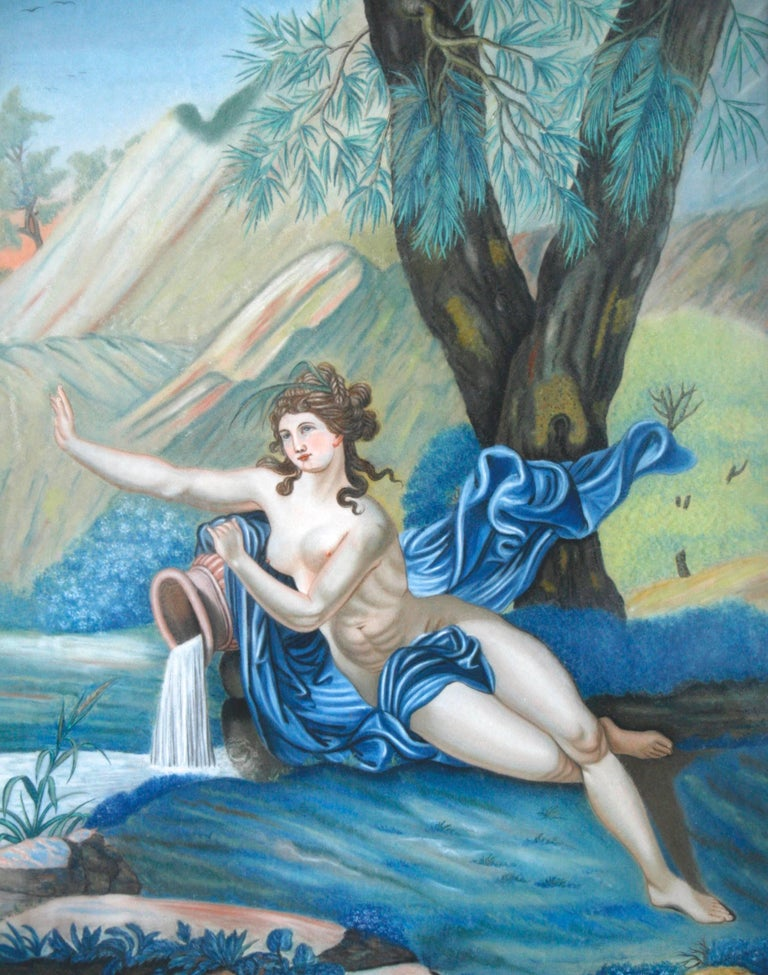 A pastel painting by Nannette Kenner of Aphrodite, the Greek goddess of love and water. It is signed Nannette Kenner peint. (painted by) Bingen (Bingen am Rhein, Germany 1821). It is framed in a solid Walnut frame with a wood back and original