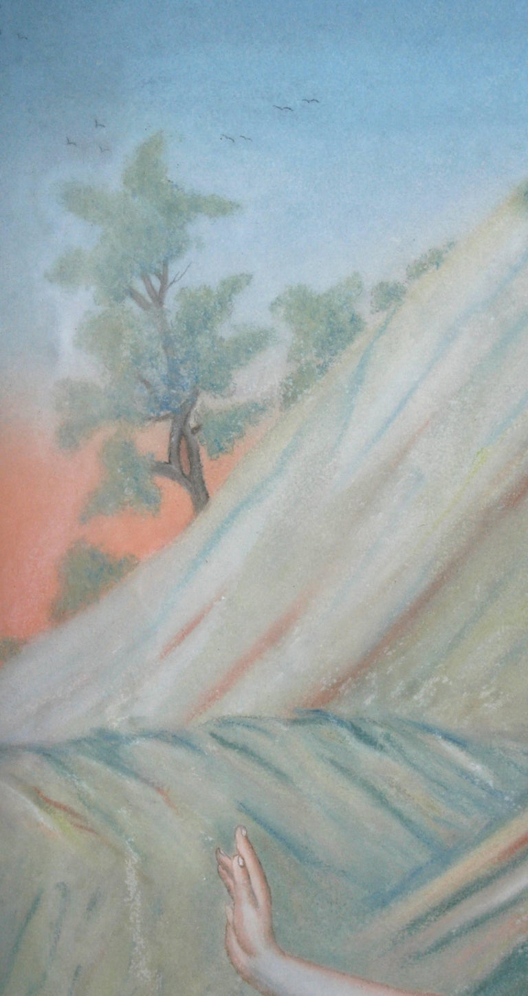 Glass Pastel Painting of Aphrodite Signed Nannette Kenner, 1821 For Sale