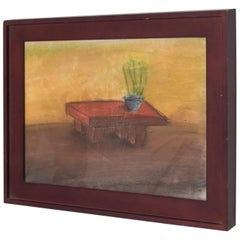 Pastel Paper Drawing Table, Still Life by P. Romo