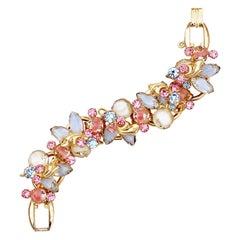 Pastel Pink & Blue Givre Glass & Rhinestone Juliana Bracelet By DeLizza & Elster