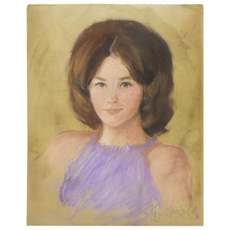 Pastel Portrait of a Woman with Dark Hair and Purple Top, 1960s - Signed