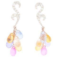 Pastel Rainbow Sapphire and Diamond Drop Earrings Set in 18k White and Rose Gold