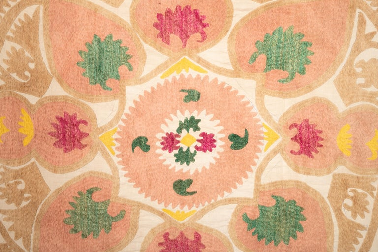 Embroidered Pastel Small Suzani from Samarkand, Uzbekistan, 1970s For Sale