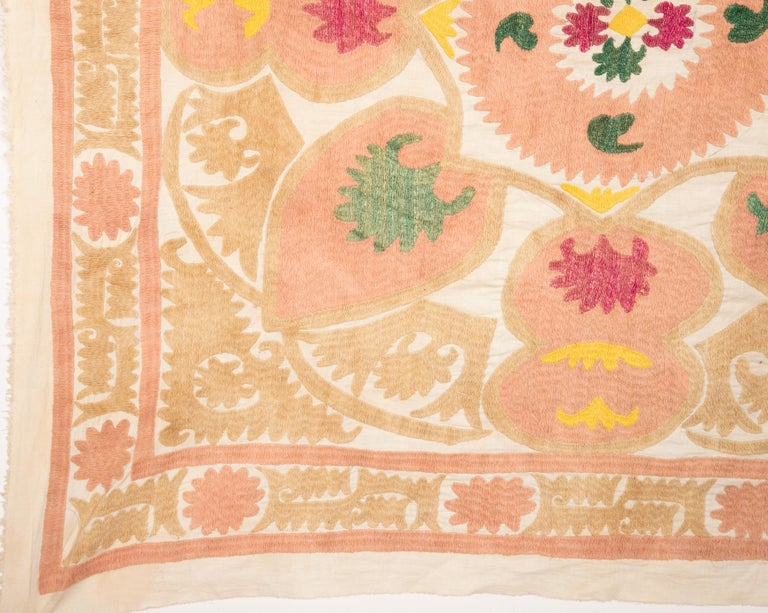 20th Century Pastel Small Suzani from Samarkand, Uzbekistan, 1970s For Sale