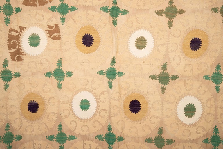 20th Century Pastel Suzani from Samarkand, Uzbekistan, Central Asia, 1970s For Sale