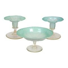 Pastel Tiffany Favrile Glass Three Piece Garniture