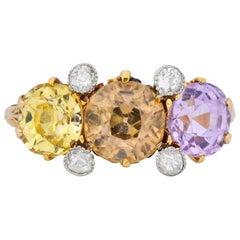 Pastel Victorian 5.42 Carat Sapphire Diamond 18 Karat Gold Three-Stone Ring