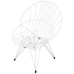 "Pastoe ""Combex"" White Wire Hoop Chair"