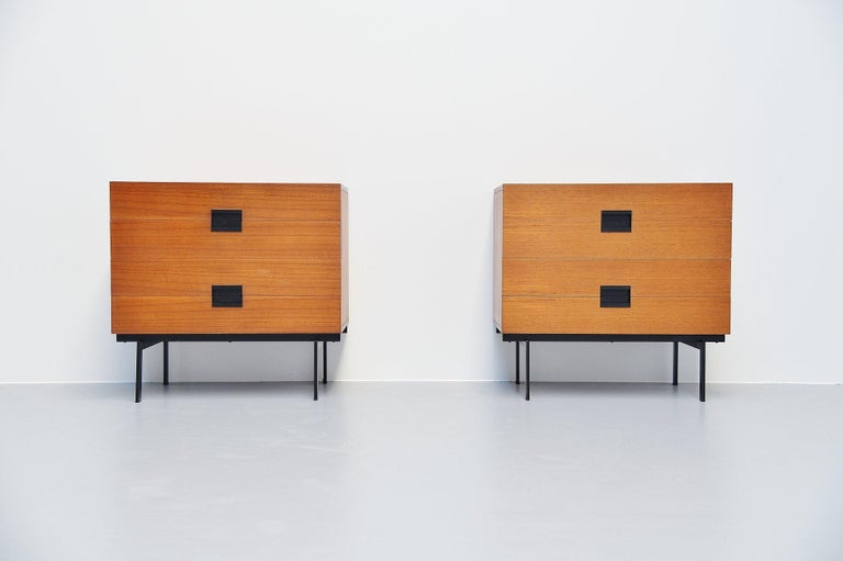 Rare pair of DU10 drawer cabinets designed by Cees Braakman and manufactured by Pastoe, Holland 1958. These drawers are quite hard to find, especially in a pair of 2. Very nice original condition, but good condition. Normal surface wear but no real