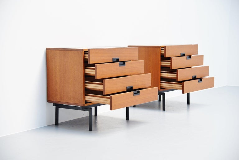 Cold-Painted Pastoe DU10 Drawer Cabinets by Cees Braakman, 1958 For Sale
