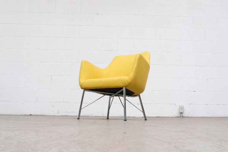 Metal Pastoe Ekselius Lounge Chair for Pastoe in Canary Yellow For Sale