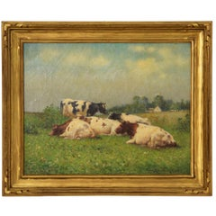 Pastoral Landscape Antique Painting by Frank Russell Green