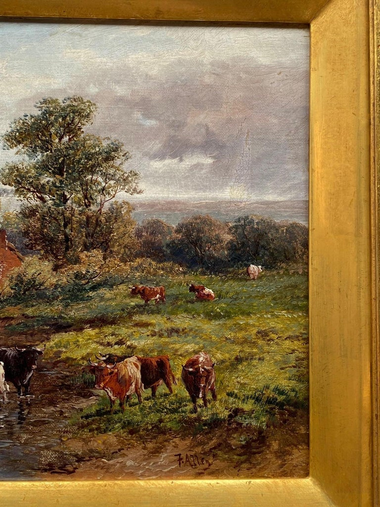 Pastoral Landscape / Oil on Canvas / Signed by F. Allen, 19th Century In Good Condition For Sale In Los Angeles, CA