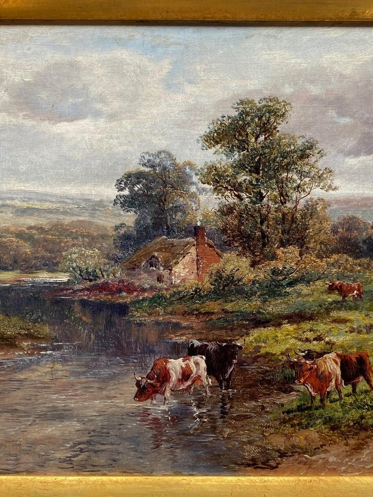Pastoral Landscape / Oil on Canvas / Signed by F. Allen, 19th Century For Sale 1