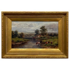 Pastoral Landscape / Oil on Canvas / Signed by F. Allen, 19th Century