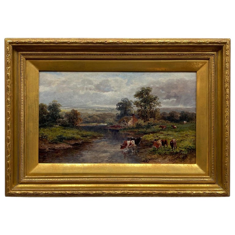 Pastoral Landscape / Oil on Canvas / Signed by F. Allen, 19th Century For Sale