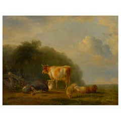 """Pastoral Landscape with Sheep and Cows"" Antique Painting by Balthasar Ommeganck"