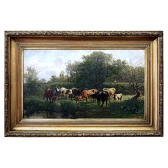 Pastoral Scene by Gustav Ranzoni, 1881, Oil on Canvas with Gold-Plated Frame