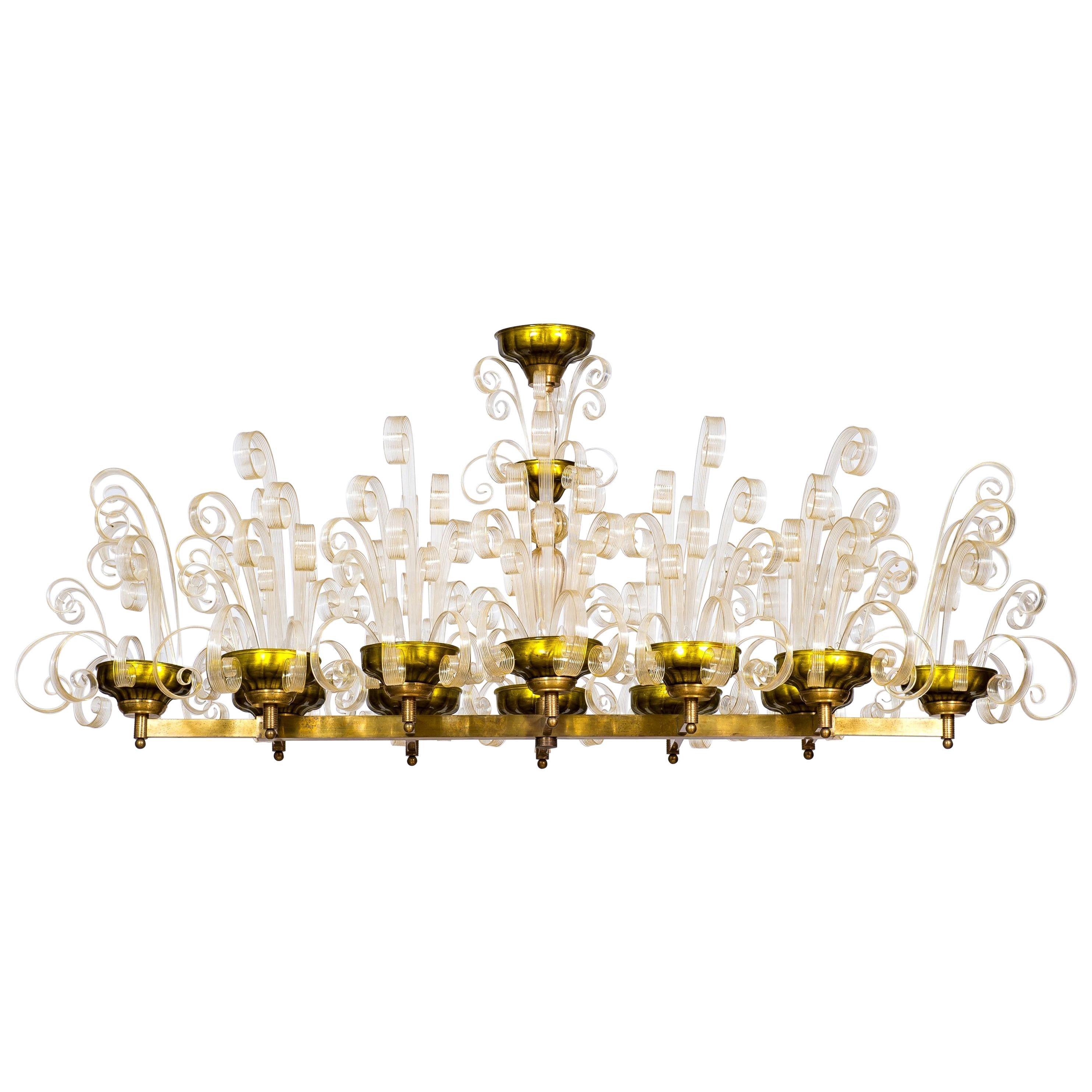 Pastorals Flush Mount in Gold Murano Glass and Green Giovanni Dalla Fina Italy