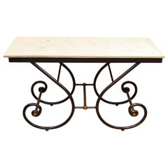 Maitland Smith Pastry Table with Scrolled Iron Legs and Faux Marble Top